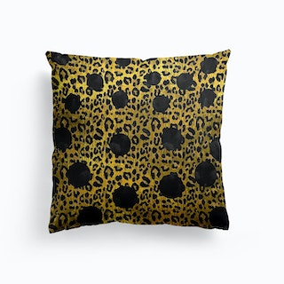 Leopard Print With Hot Black Dot Cushion