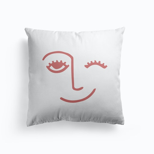 Wink Face Pink Cushion