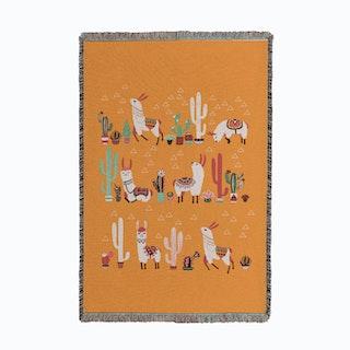 Happy Llama Small Woven Throw