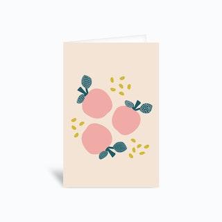 Pink Apples Greetings Card