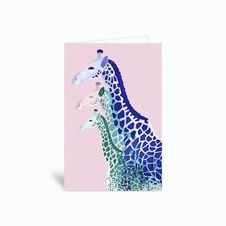 Giraffes in Pink Greetings Card