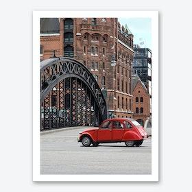 Red Oldtimer Car At Warehouse District Hamburg Art Print