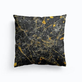 Black And Gold Marble Cushion