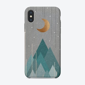 Moon And Mountains Mint Green Phone Case