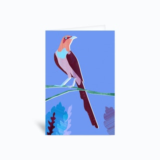 Purple Bird Greetings Card