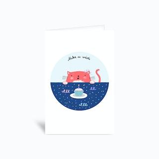 Cat Wish Greetings Card