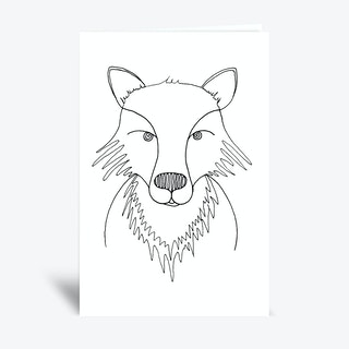 Line Fox  Greetings Card