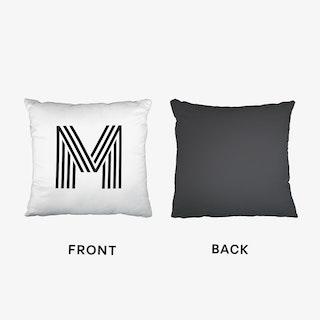 Black Letter M Cushion