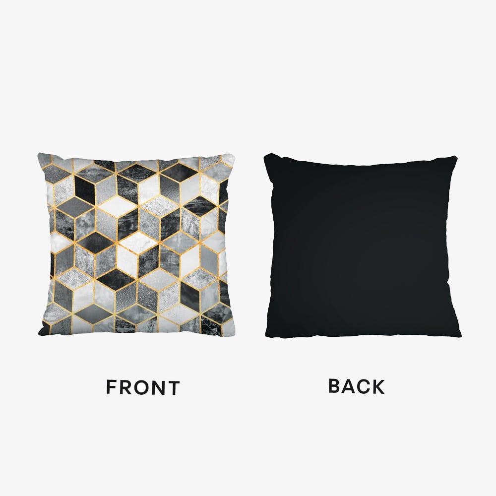 Black And White Cubes Black Cushion