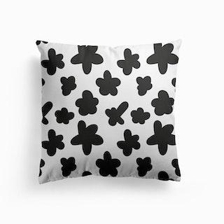 Black Flower Pattern Cushion