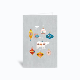 Retro Baubles Grey Greetings Card