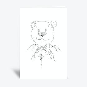 Line Bear  Greetings Card