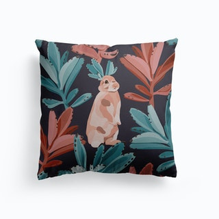 Rabbits In The Succulent Jungle Canvas Cushion