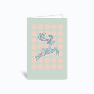 Jumping Reindeer Greetings Card