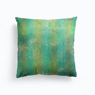 Faux Croc Print In Gold And Acquamarine Green Cushion