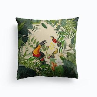 Jungle Toucan Yellow Canvas Cushion