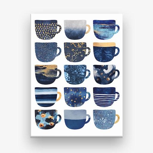 Pretty Blue Coffee Cups Canvas Print
