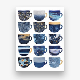 Pretty Blue Coffee Cups Canvas Print