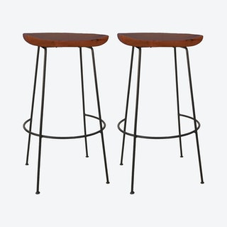 Cacey Bar Stool - Chestnut / Black - Set of 2