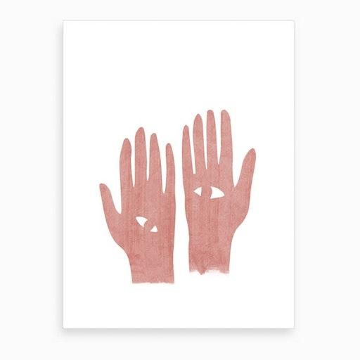 Eye Hands Pink Art Print