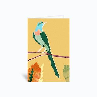 Green Bird Greetings Card