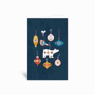 Retro Baubles Blue Greetings Card