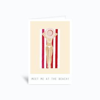 Meet Me At The Beach Main Beach Greetings Card