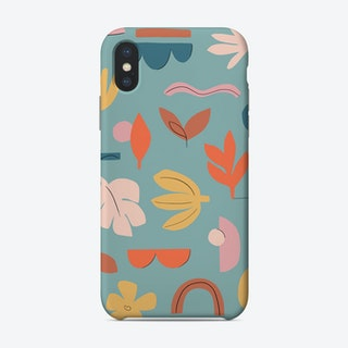 Abstract Leaves Teal Phone Case