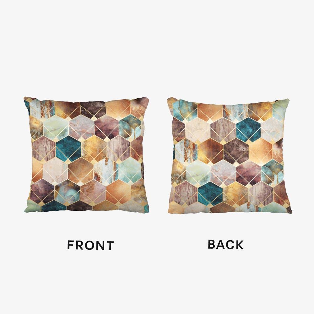 Natural Hexagons And Diamonds Cushion
