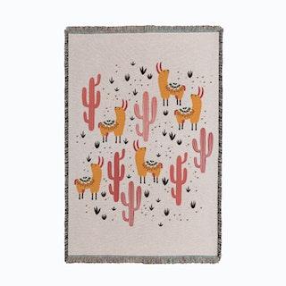 Yellow Llamas Small Woven Throw