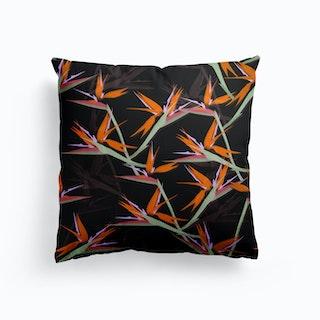 Bird Of Paradise Black Cushion