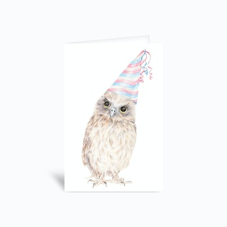 Party Owl 4x6 Greetings Card