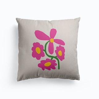 Pink Retro Cut Out Flower Canvas Cushion