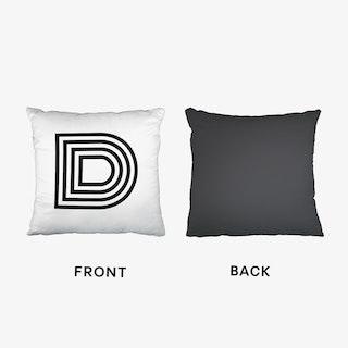Black Letter D Cushion