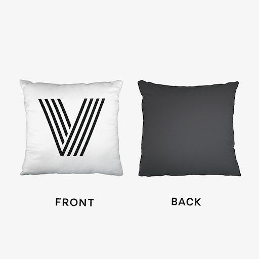 Black Letter V Cushion