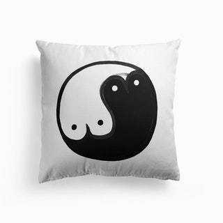Yin Yang White Cushion