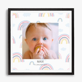 Framed Caption Photo Rainbow Background Print