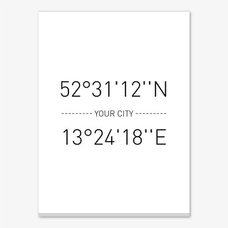 Your City Coordinates Personalised Canvas Print