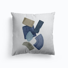Blue And Brown Paint Blocks Cushion