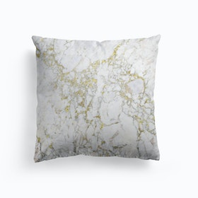 White And Gold Marble Cushion
