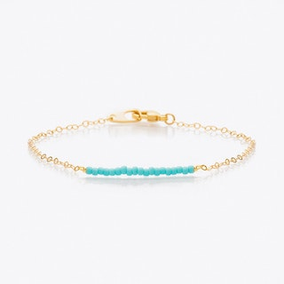 Bead & Chain Friendship Bracelet in Turquoise