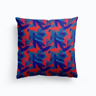 Leaves Blue Red Cushion