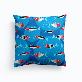 Fishes In The Blue Sea Cushion
