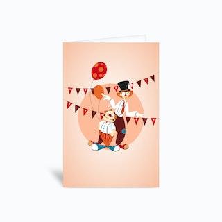 Circus Clowns Greetings Card