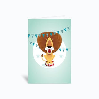 Circus Lion Greetings Card