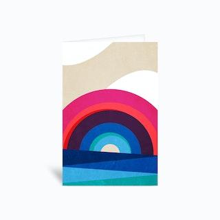 Rainbow And Sea Greetings Card