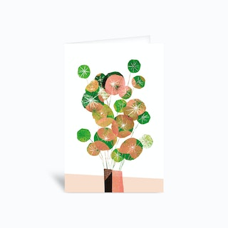 Pilea In Green And Coral Greetings Card