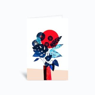 Blue Flowers In Red Vase Greetings Card
