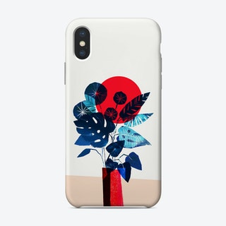 Blue Flowers In Red Vase Phone Case