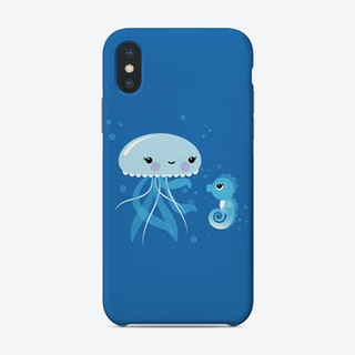 Best Friends Kawaii Jellyfish And Seahorse Phone Case